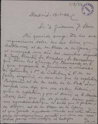 Carta de Vicente Carrión a Guillermo Fernández-Shaw, mandándole ciertos datos para que pueda hacer unas gestiones a su favor.