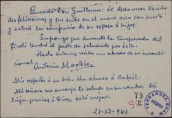 Tarjeta de Antonio Martelo a Guillermo Fernández-Shaw, felicitándole las navidades.