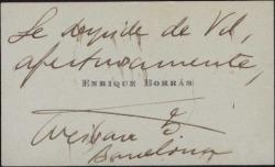 Tarjeta de visita de Enrique Borrás despidiendose.