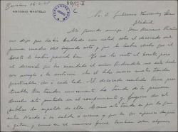 Carta de Antonio Martelo a Guillermo Fernández-Shaw, explicando detalles del decorado de una obra que preparan.