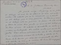 Carta de Antonio Martelo a Guillermo Fernández-Shaw, explicando más detalles del decorado de una obra que preparan.
