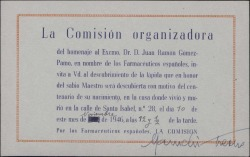 Tarjeta de invitación al homenaje de Juan Ramón Gómez-Pamo, con unas líneas autógrafas de Maruchi Fresno a Guillermo Fernández-Shaw, invitándole a participar.