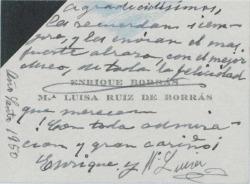 Tarjeta de visita de Enrique Borrás y esposa, felicitando a Guillermo Fernández-Shaw y su esposa.