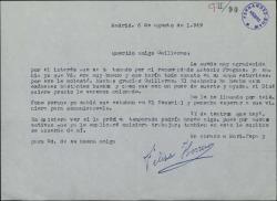 Carta de Felisa Herrero a Guillermo Fernández-Shaw agradeciéndole que se haya interesado por un recomendado suyo.