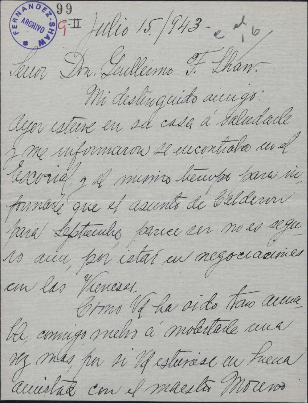 Carta de Acacia Guerra a Guillermo Fernández-Shaw, pidiéndole una ...