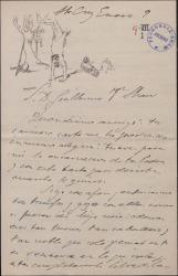 Carta de Gonzalo Segovia, Conde de Casa Segovia, a Guillermo Fernández-Shaw, expresándole su cariño e interesándose por su obra literaria.