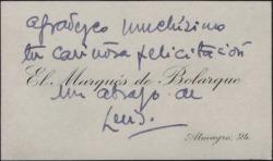 Tarjeta de visita del Marqués de Bolarque, agradeciendo una felicitación.