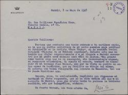 Carta del Marqués de Bolarque a Guillermo Fernández-Shaw, prometiendo enviar la fotografía y el escudo para publicarlos en una revista.