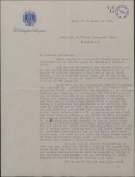 Carta del Marqués de Bolarque a Guillermo Fernández-Shaw, lamentando la muerte del maestro Guridi y evocando su figura.