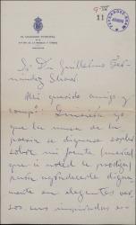 Carta de Enrique Vaquer a Guillermo Fernández Shaw, agradeciéndole unos versos que le ha dedicado.