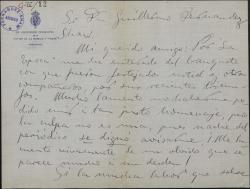 Carta de Enrique Vaquer a Guillermo Fernández Shaw, lamentando no haber sido avisado para un banquete en homenaje a éste.