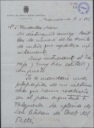 Carta de Federico Marés a Guillermo Fernández Shaw, agradeciendo el envío de una revista y hablándole de su última obra.