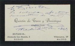 Tarjeta de visita de Quintín de Torre y Berástegui saludando a Guillermo Fernández-Shaw.
