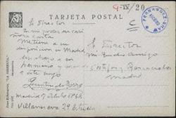 """Tarjeta postal de Quintín de Torre y Berástegui al director de """"Cortijos y Rascacielos"""" poniéndose a su disposición."""