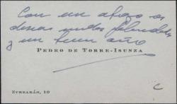 Tarjeta de visita de Pedro de Torre-Isunza deseando felicidades y un buen año.