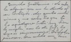 """Tarjeta de visita de Pedro de Torre-Isunza agradeciendo a Guillermo Fernández-Shaw un trabajo sobre él publicado en """"Cortijos y Rascacielos""""."""