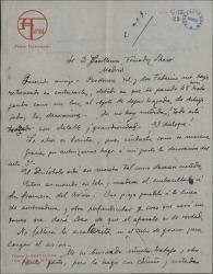 Carta de Salvador Alarma a Guillermo Fernández-Shaw, explicándole detalladamente como va la escenografía de una obra suya.