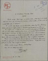 Carta de Salvador Alarma a Guillermo Fernández-Shaw, comentándole detalles de la escenografía que está preparando.