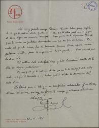 Carta de Salvador Alarma a Federico Romero, dándole cuenta del éxito de una obra suya estrenada en Barcelona.
