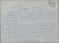 """Carta de Manuel Castro Gil a Guillermo Fernández-Shaw, enviándole algunos de sus grabados para ser reproducidos en la revista """"Cortijos y rascacielos""""."""
