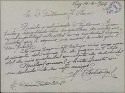 Carta de Manuel Castro Gil a Guillermo Fernández-Shaw, agradeciéndole el propósito de escribir sobre sus aguafuertes.