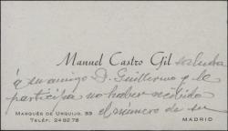 Tarjeta de visita de Manuel Castro Gil a Guillermo Fernández-Shaw, diciéndole que no ha recibido el número de la revista en que se reprodujeron algunos grabados suyos.