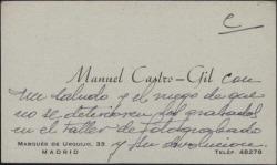 Tarjeta de visita de Manuel Castro Gil a Guillermo Fernández-Shaw, haciendo unas recomendaciones sobre sus grabados.
