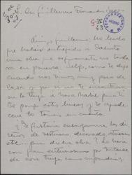 Carta de José D' Hoy a Guillermo Fernández-Shaw, pidiéndole que le encargue los diseños de vestuario y otros trabajos para su nueva obra.