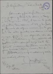 Carta de José D' Hoy a Guillermo Fernández-Shaw, felicitando el año nuevo y esperando recibir nuevos encargos.