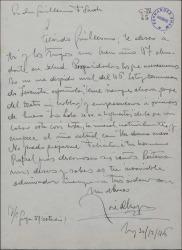 Carta de José D' Hoy a Guillermo Fernández-Shaw, felicitando el año nuevo dando noticias de sus trabajos en el cine.