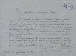 Carta de Luis Ibáñez a Guillermo Fernández-Shaw, enviándole los dibujos completos del trabajo que para él realiza.