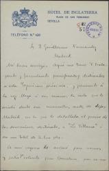 """Carta de Salvador Alarma a Guillermo Fernández-Shaw, refiriéndose a otra carta en la que le detallaba el preci de las decoraciones de """"La villana""""."""