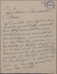 Carta de Juan Comba a Guillermo Fernández Shaw, enviándole la reseña de unos dibujos que ha hecho para el retablo de Víctor Espinós.