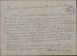 Carta de Juan Comba a Guillermo Fernández Shaw, invitándole a una conferencia que va a pronunciar sobre la historia del traje.