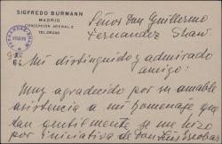 Tarjeta de Sigfredo Burmann a Guillermo Fernández-Shaw, agradeciendo su asistencia al homenaje que se le rindió.