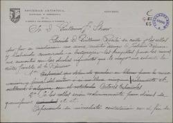 Carta de Manuel de Castro Gil a Guillermo Fernández-Shaw, consultándole dudas sobre unos sellos que le han encargado.