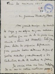 Carta de Manuel Fontanals a Guillermo Fernández-Shaw, expresando su satisfacción por el anunciado viaje del maestro Vives a París.