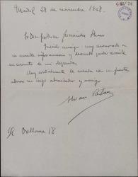 Carta de Álvaro Retama a Guillermo Fernández-Shaw, agradeciéndole cierta información.