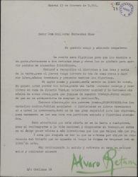 Carta de Álvaro Retama a Guillermo Fernández-Shaw, anunciándole el envío de los figurines y proponiéndole una colaboración teatral.