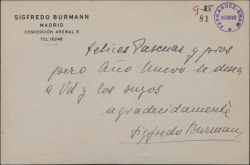 Tarjeta de Sigfredo Burmann a Guillermo Fernández-Shaw, con una felicitación navideña.