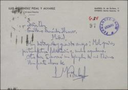 Tarjeta de Luis Menéndez Pidal agradeciendo a Guillermo Fernández-Shaw su felicitación.