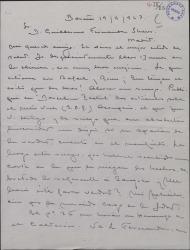 Carta de Luis Calvo a Guillermo Fernández-Shaw, pidiéndole su opinión sobre unos artículos que escribió sobre el maestro Vives.