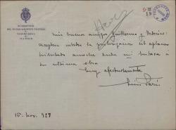 Carta de Luis París a Guillermo Fernández-Shaw y Federico Romero, felicitándoles por su última obra.
