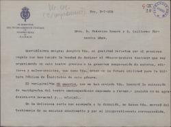 """Carta de Luis París a Guillermo Fernández-Shaw y Federico Romero, agradeciéndoles la donación del original de """"El caserío"""" con destino al Museo-Archivo Teatral."""