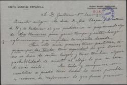"""Carta de José F. Pacheco a Guillermo Fernández-Shaw, interesándose en preparar algo de """"Los flamencos"""" para ganar tiempo."""