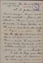 """Carta de José F. Pacheco a Guillermo Fernández-Shaw, felicitándole por el éxito de """"La rosa del azafrán""""."""