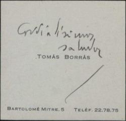 Tarjeta de visita de Tomás Borrás saludando cordialmente.