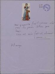 Carta de Tomás Borrás enviando unos libros a Guillermo Fernández-Shaw.