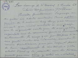 Carta de Xavier Cabello Lapiedra a Guillermo Fernández-Shaw, sobre cierto asunto relacionado con Vives y otros temas.