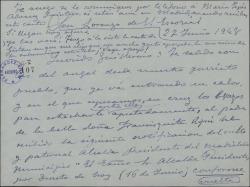 Carta de Xavier Cabello Lapiedra a Guillermo Fernández-Shaw, comunicándole el fracaso de una gestión para conseguir una subvención económica relacionada con los hermanos Álvarez Quintero.